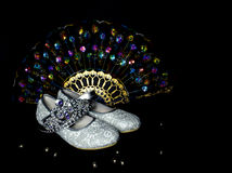 Shoes, crown and fan for the little girl Royalty Free Stock Photo