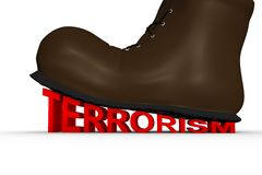 Shoes crushes terrorism Stock Images