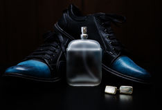 Shoes with cuff and perfume. Mans accessories. Shoes with cuff and perfume Royalty Free Stock Images