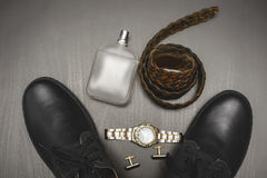 Shoes with cuff and perfume. Mans accessories. Shoes with watch and perfume Stock Photos