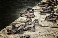 Shoes on the Danube Bank in Budapest Stock Image