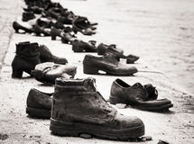 Shoes on the Danube bank is a memorial in Budapest, black and wh Royalty Free Stock Photos