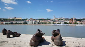 Shoes on the Danube Bank Royalty Free Stock Photo