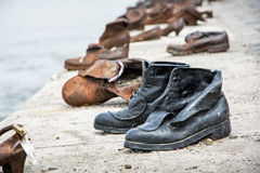 Shoes on the Danube bank is a memorial in Budapest Stock Photos