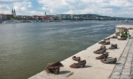Shoes on the Danube Bank monument in Budapest, Hungary Stock Image