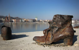 Shoes on the Danube Bank monument in Budapest Stock Photos