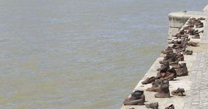 Shoes on the Danube Bank. Royalty Free Stock Images
