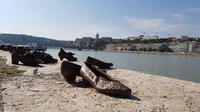 Shoes on the Danube in budapest Royalty Free Stock Photos