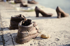 Shoes on the Danube embankment Stock Images