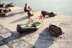 Shoes on the Danube embankment Royalty Free Stock Images