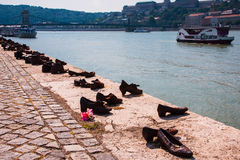 Shoes on the Danube, famous holocaust memorial in Budapest .Monument, which represents the shoes of the victims left behind on the Royalty Free Stock Photos