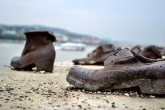 Shoes on the Danube promenade. The Holocaust memorial in Budapest Stock Images