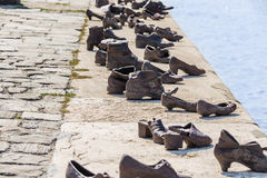 Shoes on the Danube promenade Royalty Free Stock Images
