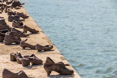 Shoes on the Danube promenade Royalty Free Stock Photography