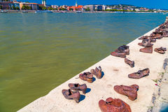 Shoes on the Danube promenade Royalty Free Stock Photos