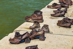 Shoes on the Danube promenade Stock Photo