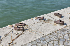 Shoes on the Danube riverbank Memorial. Budapest, Hungary. Royalty Free Stock Photo