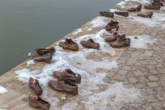 Shoes on the Danube shore, Budapest, Hungary royalty free stock images