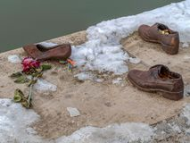 Shoes on the Danube shore, Budapest, Hungary royalty free stock photo