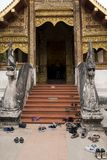 Shoes deposited at the entrance of a Thai temple. Chiang mai thailand Royalty Free Stock Photo