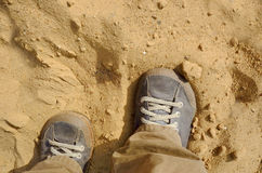 Shoes In A Desert Royalty Free Stock Photography