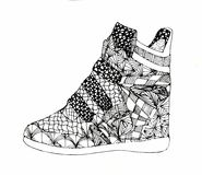 Shoes with different ornaments graphics ink Royalty Free Stock Photography
