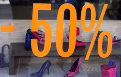 Shoes on display. Fancy shoe shop for woman Royalty Free Stock Photography