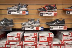 Cross trainer shoe display Stock Image