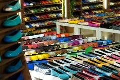 Shoes diversity at  apparel shop Royalty Free Stock Photo