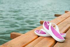 Shoes on the dock Stock Image