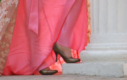 Shoes and dress. Woman shoes and dress closeup Royalty Free Stock Images
