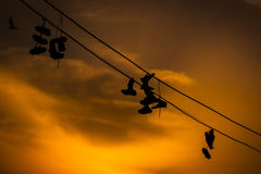 Shoes on the electric conduit. Royalty Free Stock Photography