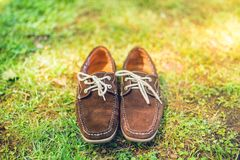 Shoes, elegant brown summer moccasins. Mens leather shoes, view from top, ready for catalog Royalty Free Stock Images