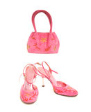 Shoes with elegant pink handbag Royalty Free Stock Photos