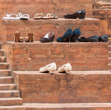Shoes at the entrance of a mosque Stock Photos