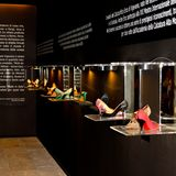Shoes exhibition in Vigevano stock photography