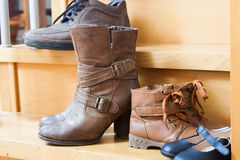 Shoes fall in home Stock Photography