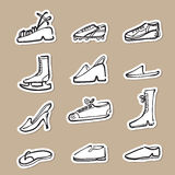 Shoes fashion and sport drawing icons paper cut Royalty Free Stock Photos