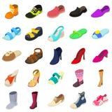 Shoes fashion types icons set, isometric style. Shoes fashion types icons set. Isometric illustration of 25 shoes fashion types vector icons for web Royalty Free Stock Photo