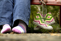 Shoes and feet stock photos