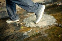 - Shoes Feet Walking Rocks Creek Royalty Free Stock Photo