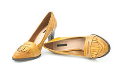 Shoes female. Leather shoes the female brown Royalty Free Stock Photo