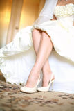 Shoes of fiancee. Preparation to the holiday. Wedding-day Stock Images
