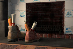 Shoes by the fireplace for the Dutch holiday Sinterklaas. Shoes with carrots by the fireplace, or `schoen zetten` for the traditional Dutch holiday Sinterklaas Stock Images