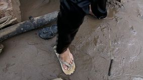 Shoes, fisherman, cambodia stock footage