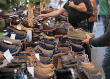 Shoes at Flea market stock image