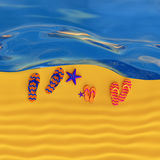 Shoes flip-flops on the beach with starfish Royalty Free Stock Photos