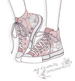 Shoes with floral pattern. Sneakers background vector illustration