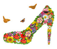 Shoes from the flowers. With butterfly isolated on white Stock Photos