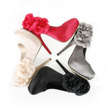 Shoes with flowers in square composition Royalty Free Stock Photo